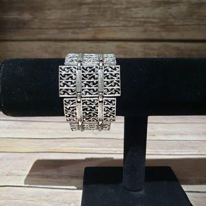 Vtg Filigree silver tone chunky bracelet
